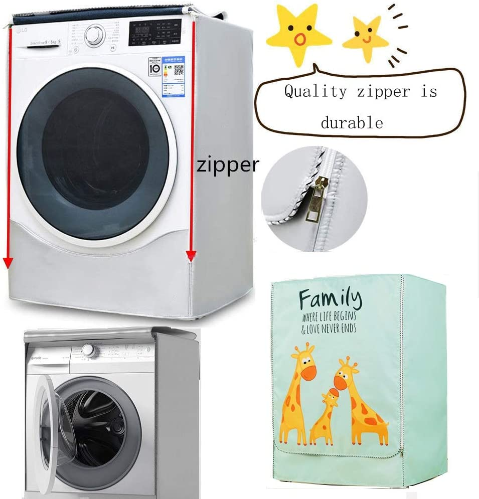 FWKTG Washer//Dryer Full-Automatic Protective Cover Washing Machine Cover for Waterproof and dustproof Thickening Front-Loading Machine with Zipper Color : A, Size : L 7-7.5kg