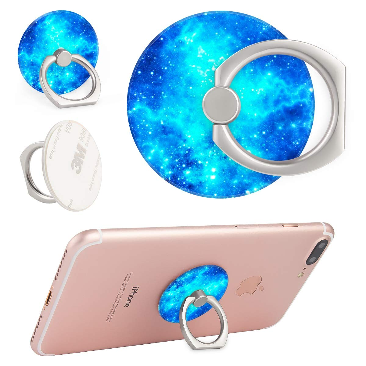Blue Starry Sky Space Galaxy Ring Phone Holder Stand Mounts for iPhone iPad, Samsung Other Smartphones by BoBuBa-L (Image #2)