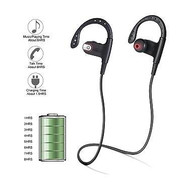 Auriculares Bluetooth, fivanus Wireless V4.1 Auriculares Sport Bluetooth auriculares alta calidad stereocon micrófono sudor clásico negro suave auriculares ...