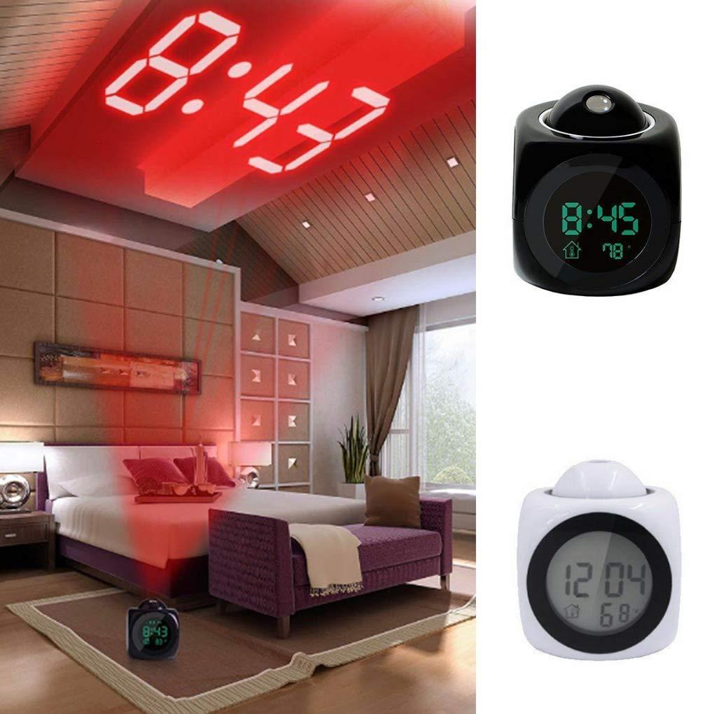 Bodbii Affichage LED de Projection Temps num/érique R/éveil Parler Vocal Thermom/ètre Fonction Snooze Accueil Bureau Horloges de Bureau