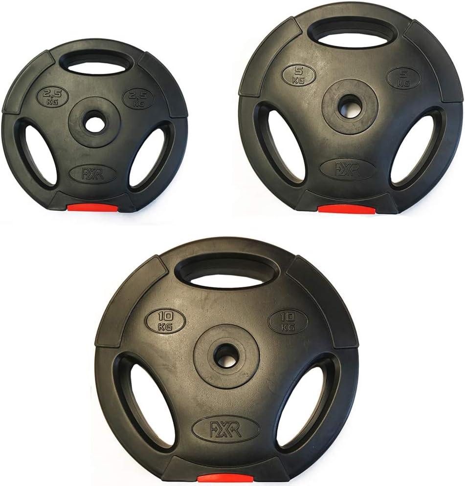FXR Sports 1 TRI GRIP 2.5-10kg VINYL WEIGHT PLATES DISCS WEIGHTS FITNESS GYM