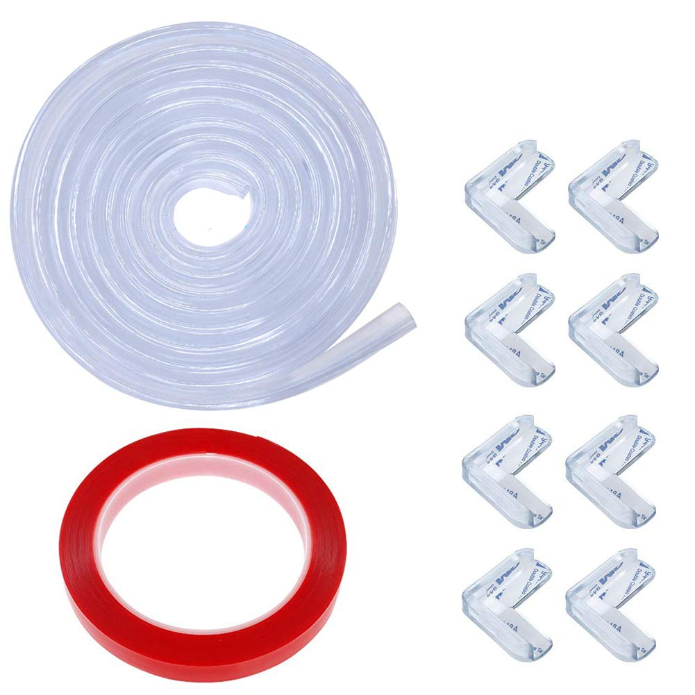 Transparent Corner Guards, Furniture Edge Protectors Soft Silicone Bumper Strip,20 ft Edge +8 Corners +43 ft Double-Sided Tape for Cabinets, Tables, Household Appliances, etc (Transparent)