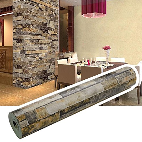 Meflying 3D Brick Wallpaper, Waterproof Vintage Stone Wallcoverings Natural Embossed Stack Stone Wall Paper Modern for Women Men Home Bedroom Room Decoration Indoor (US Stock) (Beige)