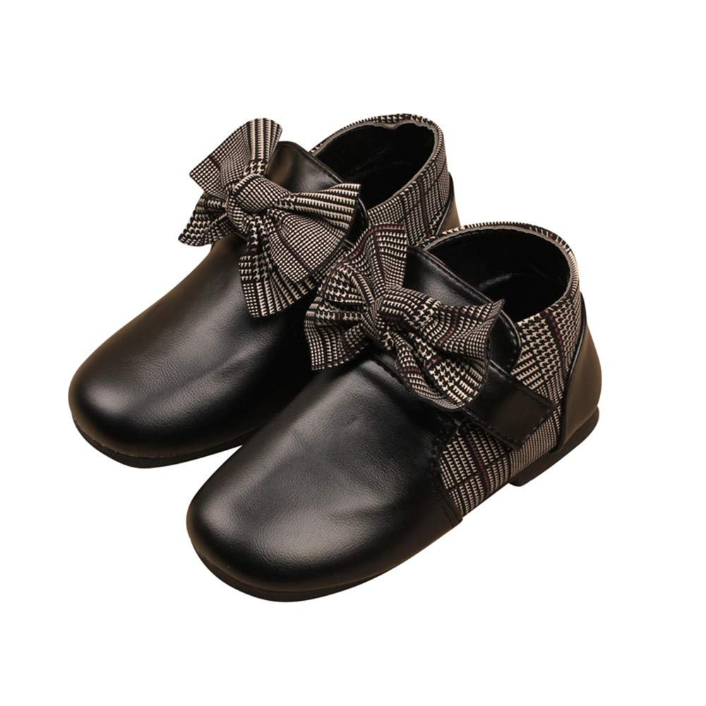 Fashion Baby Autumn Winter Bowknot Pu Leather Shoes Waterproof Martin Boots Anti-Slip Ankle Boots Outdoor Princess Walking Shoes Rainshoes 1-6 Years Old Zerototens Girls Boots