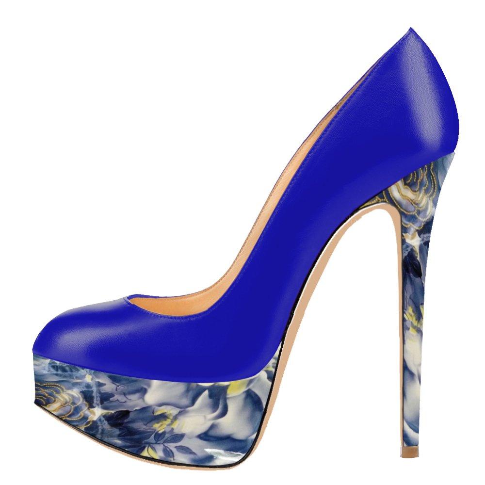 AOOAR AOOAR AOOAR Blau Damen Mischfarben Plateau Stiletto Abendschuhe Pumps Blau ... 962e6b