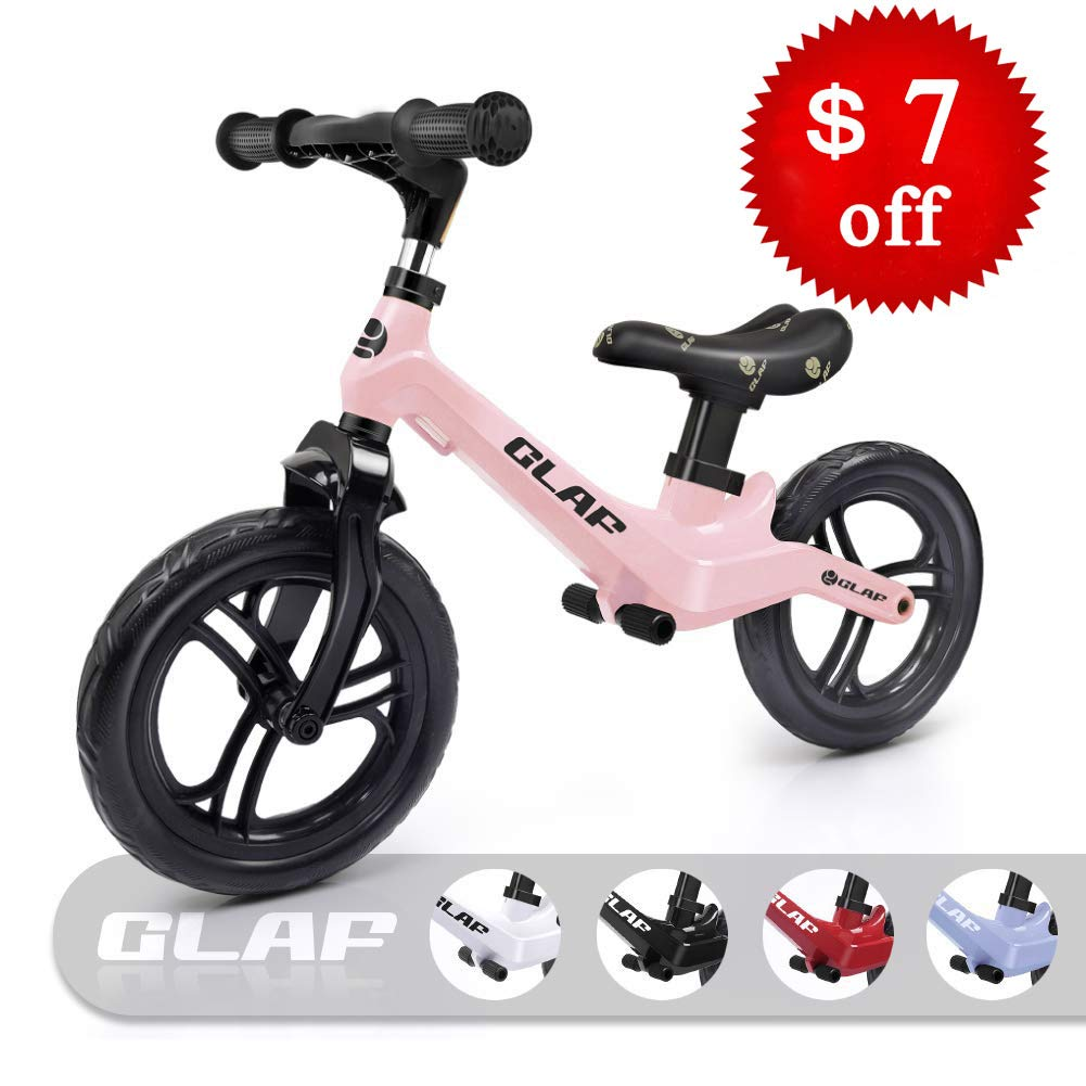 Glaf 12 inches Kids Balance Bike No Pedal Bicycle Walking Bicycle Children Toddler Balance Bike for Kids Adjustable Handlebar and Seat Training Running Bicycle for Ages 17 Month-5 Years Old (Pink)