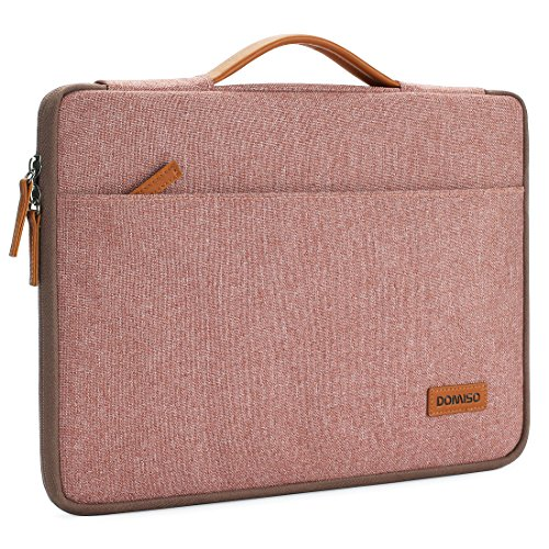 DOMISO 13 Inch Laptop Sleeve Canvas Notebook Portable Carrying Bag Case Handbag for 13'' MacBook Pro Retina Display / 13'' MacBook Pro / 13.3'' Computers, Pink by DOMISO