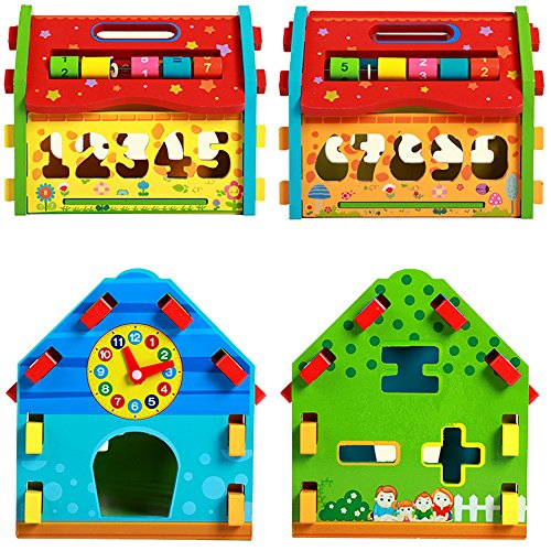 Baby Shape Sorting Houses TelPal Montessori Educational Toy Math Toy for Baby Kid's Gift, Novelty Educational Maths Game Wooden Toys by TelPal (Image #2)