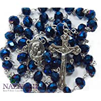 Christian Rosary With Deep Blue Crystals Beads Jerusalem Necklace Jesus Crucifix Holy Land