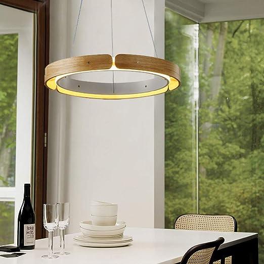 ZMH - Lámpara colgante para mesa de comedor (41 W, 3500 K, luz blanca cálida, madera): Amazon.es: Iluminación