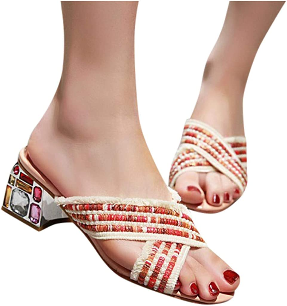 Eoeth Summer Womens Bohemia Style Lace-Up Shoes Open-Toe Square Heeled Sandals Cross Band Fish Mouth Cutout Shoes