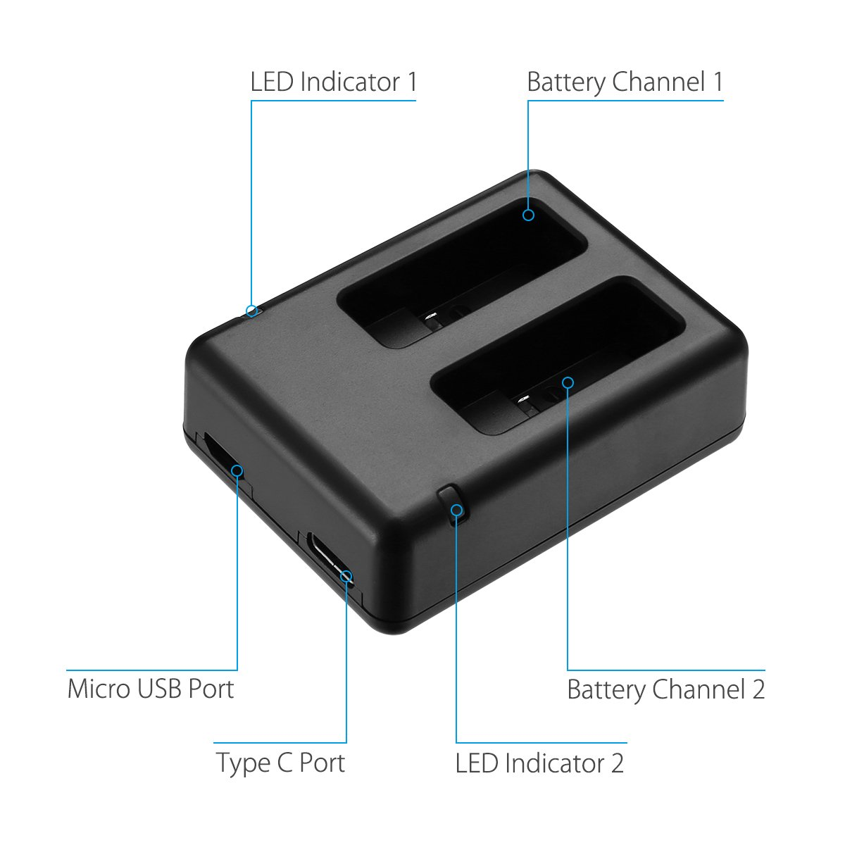 HERO5 Black Powerextra Dual Battery Charger with Micro USB Cable for GoPro HERO7 Black GoPro HERO6 Black GoPro HERO5