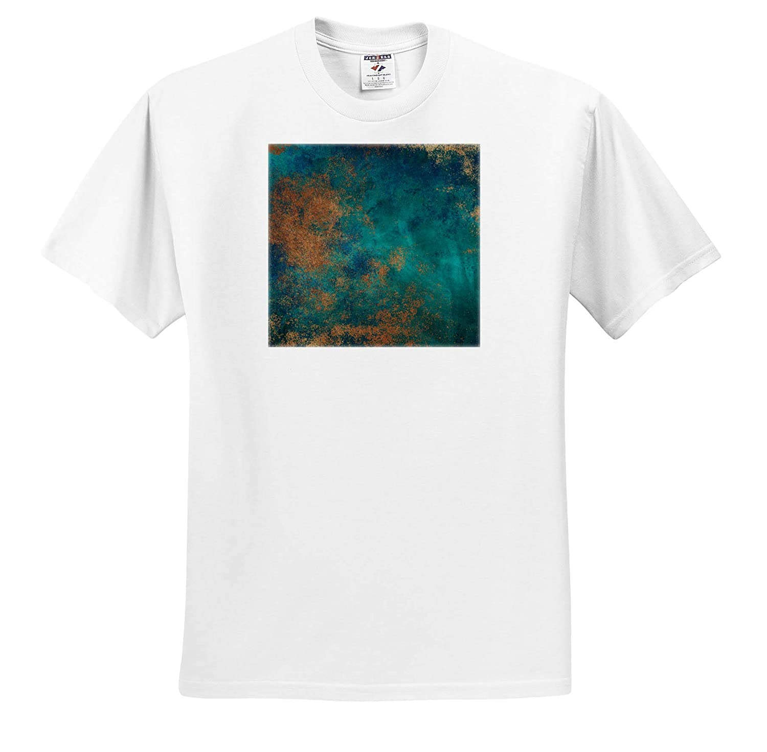 ts/_316248 Adult T-Shirt XL Abstract 3dRose Anne Marie Baugh Teal and Image of Copper Abstract