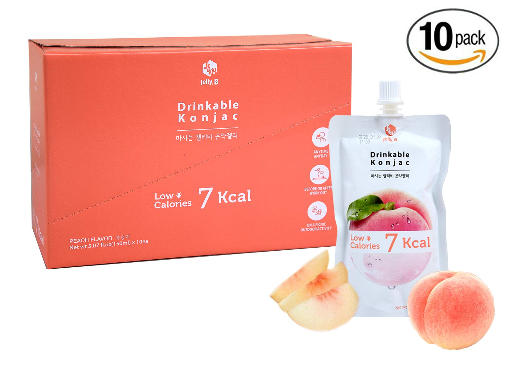 Jelly.B Konjac Jelly (10 Packs of 150ml) - Healthy and Natural Weight Loss Diet Supplement Foods, 0 Gram Sugar, Low Calorie, Only 6 kcal Each Packets, Peach Flavor, Made in Korea.