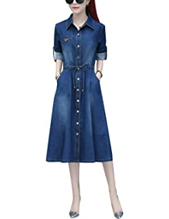 c3a134003a2 Omoone Women s Long Sleeve High Waist Belted Washed Denim Chambray Dress  Jacket
