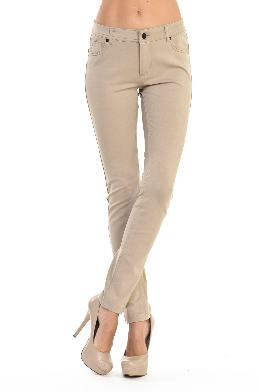 YourStyle Stretchy Slim Fit Skinny Long Jegging Pants, Basic Pants(S-3XL) (Small, New Khaki)