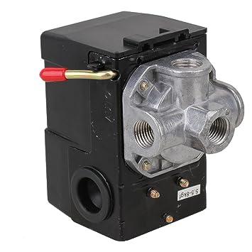 weone 80 - 115 psi 4 puertos válvula de control de interruptor de presión ajustable para Compresor de aire rojo Palanca de encendido/apagado: Amazon.es: ...