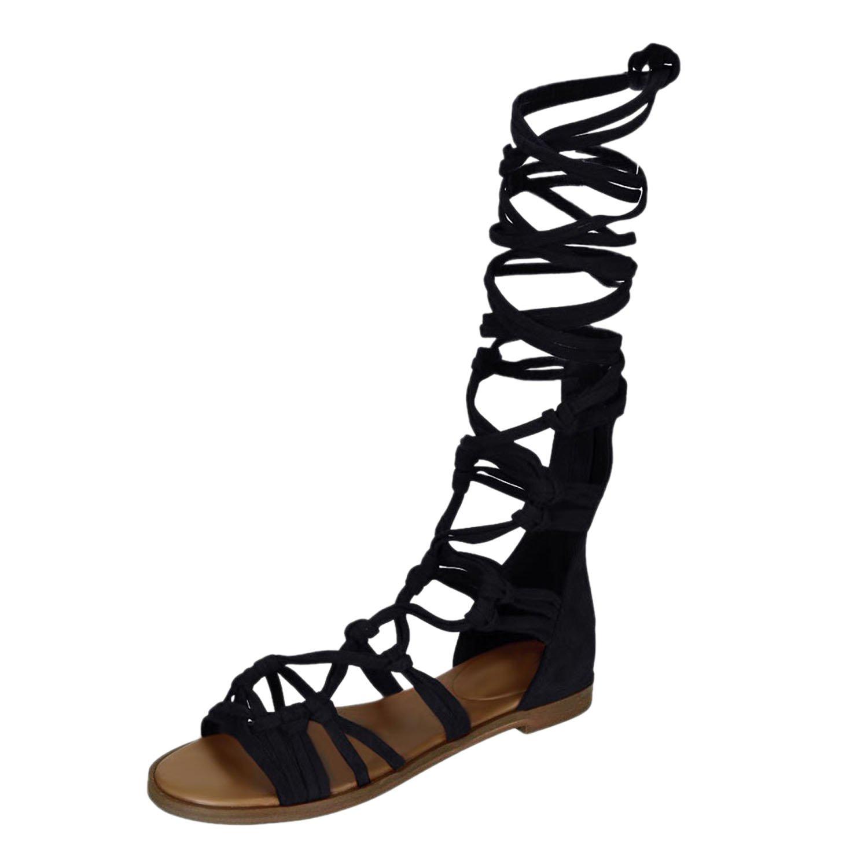 ffb5d9363374 Chnli Women Summer Casual Knee High Gladiator Flat Boots Lace Up Sandal  Beach
