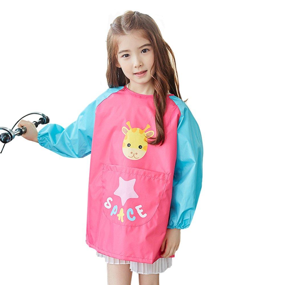 OLizee Long Sleeve Waterproof Art Smock with Front Pocket Cartoon Giraffe Kids Painting Apron Bib for Eating, Rose L
