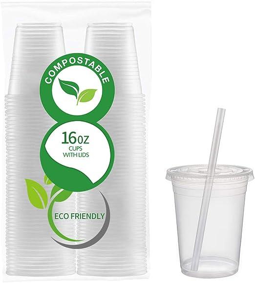 50 vasos de PLA transparentes respetuosos con el medio ambiente ...