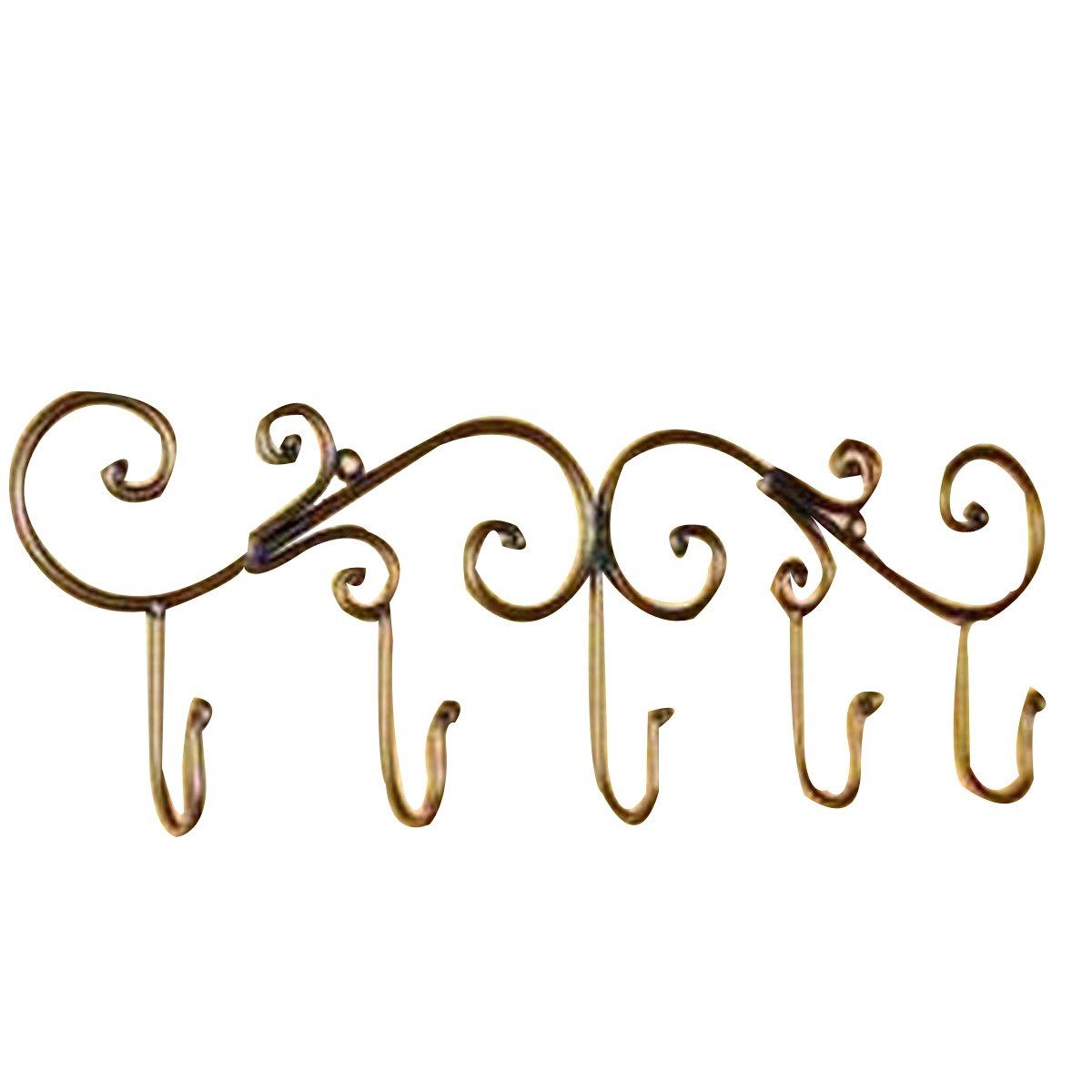 WS @ WX1023 Iron Wall Mount Hooks Hanger Rack (5 Hooks),Bronze 60%OFF