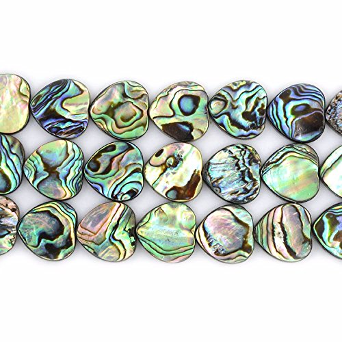 Natural 16mm Abalone Shell Flat Heart Beads Strand 16