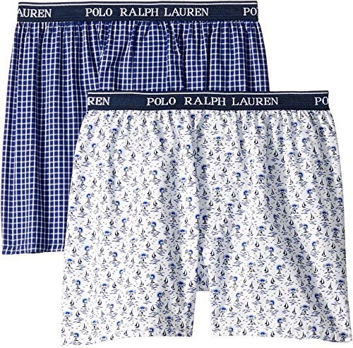(Polo Ralph Lauren Kids Boy's 2-Pack Woven Boxers (Little Kids/Big Kids) Lighthouse/William Plaid MD (8-9 Big)