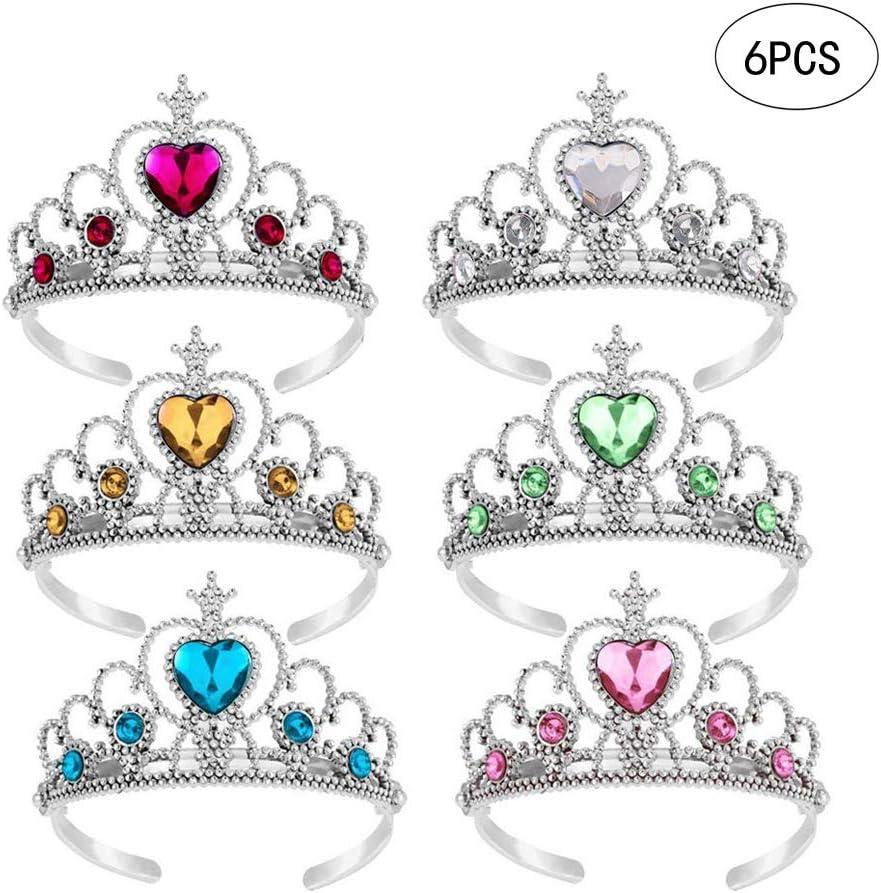 jaune + bleu + vert + rose + blanc + rouge Wenosda 6pcs habiller Tiara Crown Set princesse Costume Party Accessoires pour enfants//fille//enfant en bas /âge