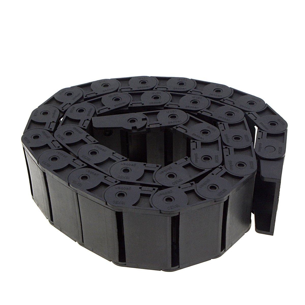YXQ R38 Drag Chain 18mm x 50mm 1M Flexible Nested Semi Closed Cable Wire Carrier Black Plastic for Electrical Machines