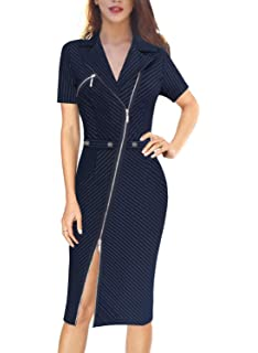 4a9833b6418 Amazon.com: Happy Saield Women Wear to Work Dresses V Neck Ruched ...