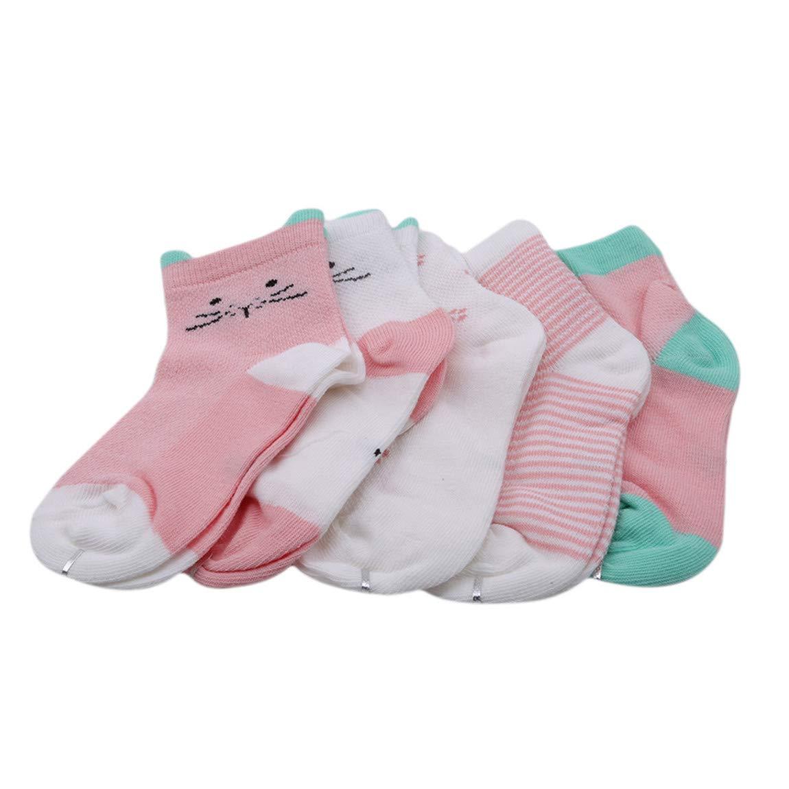 CH Baby Summer Warm Cotton Mesh Thin Socks Cute Cartoon Sweet Animal ShapedSoft Breathable Socks Good For Gift 5pcs Orange Pink Cat L