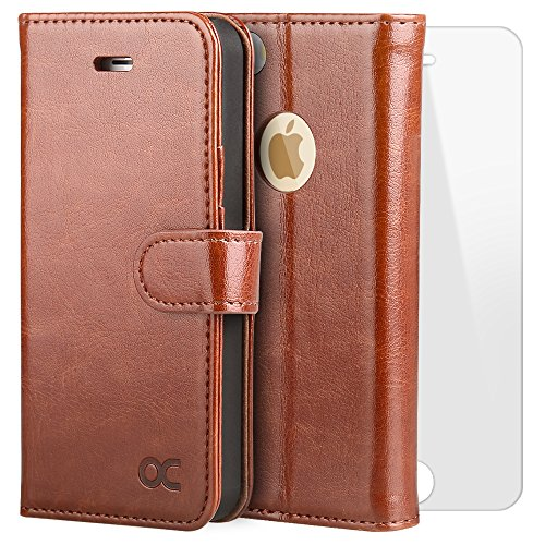 OCASE Leather Wallet Flip Case with Screen Protector for iPhone 5 / 5S / SE - Brown