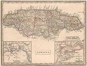 Amazoncom JAMAICA W Kingston Port Royal Bluefields Savanna - Vintage map of jamaica