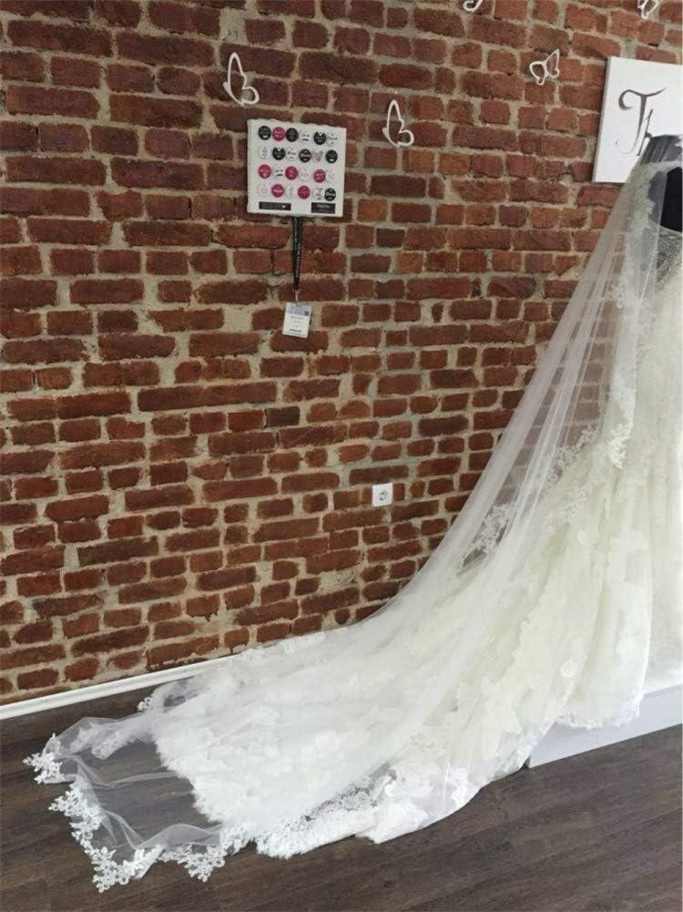 Size : White Weicher T/üll Brautschleier-Spitze-Rand-Hochzeit Zubeh/ör Kapelle Boden Veils mit freier Kamm for die Braut Lady 1 Tier 3 Meter lang Kathedrale 0318