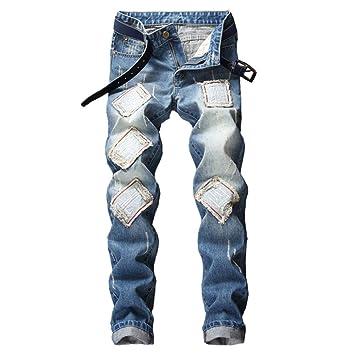 YFCTASQX Pantalones Lavados con Cremallera Recta Y ...