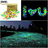 kingleder 200PCS Multi-color Glow in the Dark Garden Stone Pebbles Gravel for Walkways Yard Fish Tank Aquarium Decor (200, Mixed-color)