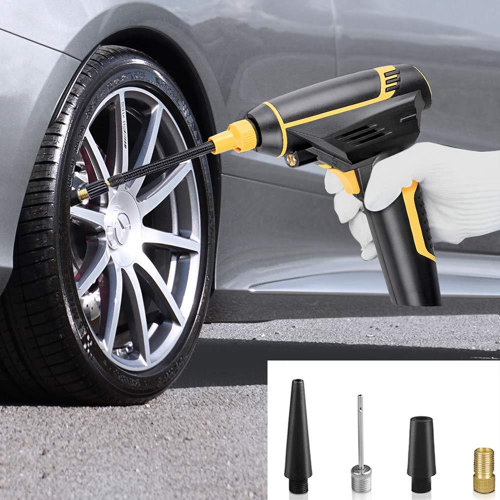 SUMGOTT Compresor Aire Coche Portátil Inflador Eléctrico con Pantalla Digital LCD, Máxima 150psi Apto para Hinchar Neumáticos de Moto Coche y Bicicleta: ...