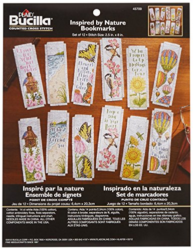 - Bucilla Counted Cross Stitch Bookmark Kit, 2.5 by 8-Inch, 45709 Inspired By Nature (Set of 12)