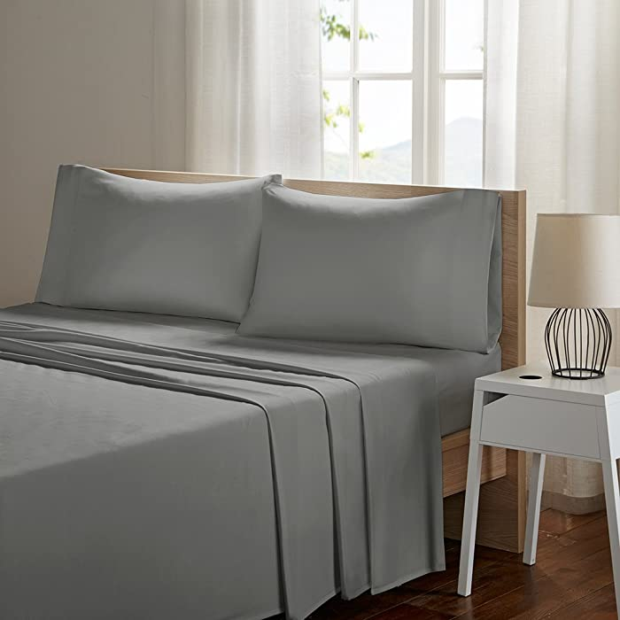 SLEEP PHILOSOPHY Smart Cool Microfiber Moisture-Wicking Breathable Hypoallergenic 4 Piece Cooling Sheet Set, King Size, Grey