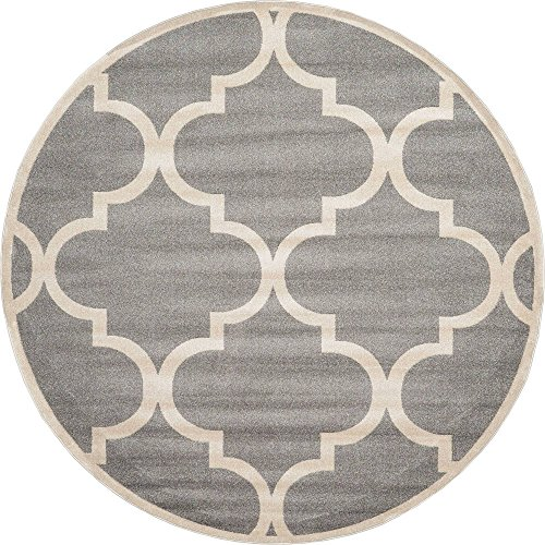 (Unique Loom Trellis Collection Moroccan Lattice Gray Round Rug (8' 0 x 8' 0))