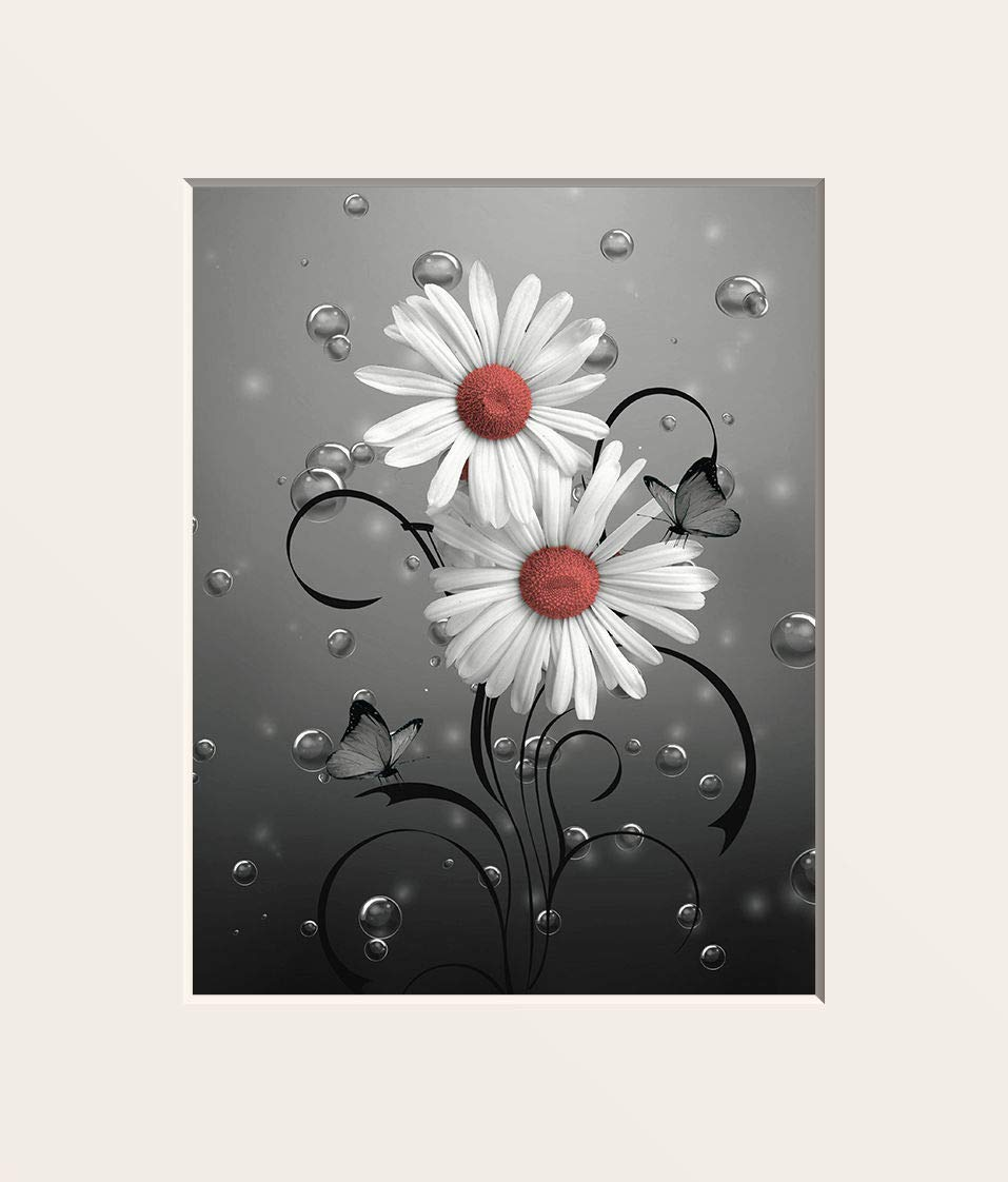Littlepiecreations Original USA Handmade Coral Gray Daisy Flowers Butterfly Home Decor Wall Art Picture 5x7 inch with 8x10 Mat Fits 8x10 Inch Frame