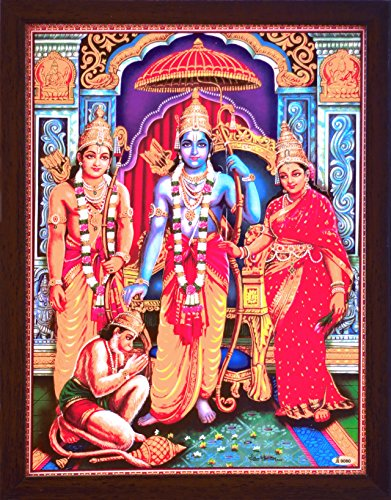 Lord Hanuman gratitude in the feet of Ram Laxman and sita, A Hindu Holy Religious Poster painting with frame for Hindu Religious and Gift purpose by HandicraftStore