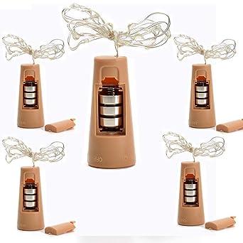 LED Luz, de botellas de vino Botellas luces 5 piezas corcho Botella Cadena de luces mini ...