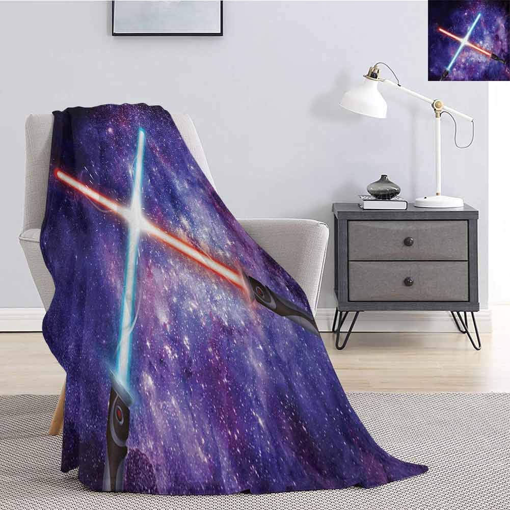 Luoiaax Galaxy Bedding Flannel Blanket Illustration in Starry Sky Fantastic Outer Space Themed Illustration Super Soft and Comfortable Luxury Bed Blanket W60 x L70 Inch Purple Blue and Black