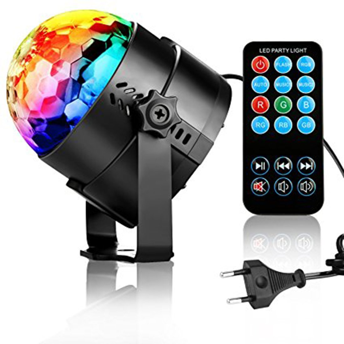 DJ Lights, Disco Ball Birthday Party Lights LED Rotating Strobe Lights, 7 Colors Sound Activated Dance Light Stage Light for Home Xmas Halloween Kids Party Decorations Karaoke Bar Club Outdoor