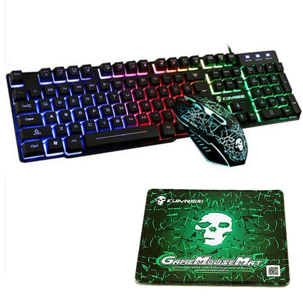 Mouse Pad 2400DPI Mouse K-13 Rainbow Backlight Usb Ergonomic Gaming Keyboard