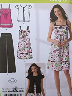 product image for Simplicity Easy Chic Pattern 2373 Misses Pants, Dress or Top and Jacket Sizes 6-8-10-12-14