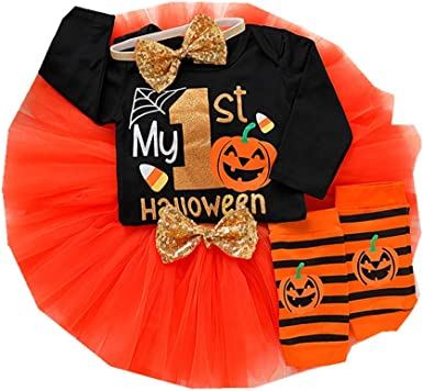 4PCS Halloween Costume Newborn Baby Girl Romper+Tutu Dress+Leg Warmer Outfits US
