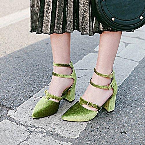 Donna Cinturino Fibbia Elegante Blcco Chiusa Scarpe T Alto Sala A Punta Verde Tacco Doppia Da Ye Con dwXvBd