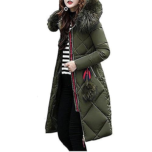 BAINASIQI Mujer Abrigo Caliente con Capucha Chaqueta Acolchada Larga Down Parka de Algodón para el i...